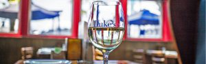 Dukes Seafood Lake Union Interior with Wine Glass