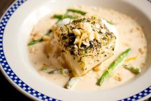 Duke's Chowder House Halibut dish