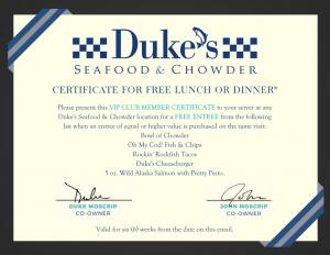 Duke's seafood welcome reward certificate