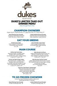 Duke's Limited Take Out Dinner Menu