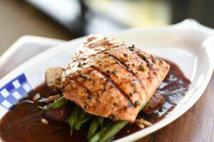 Duke's Salmon over Potatoes and Green Beans