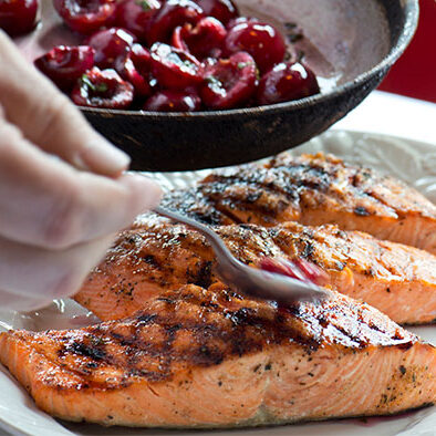 Grilled Salmon With Local Cherries