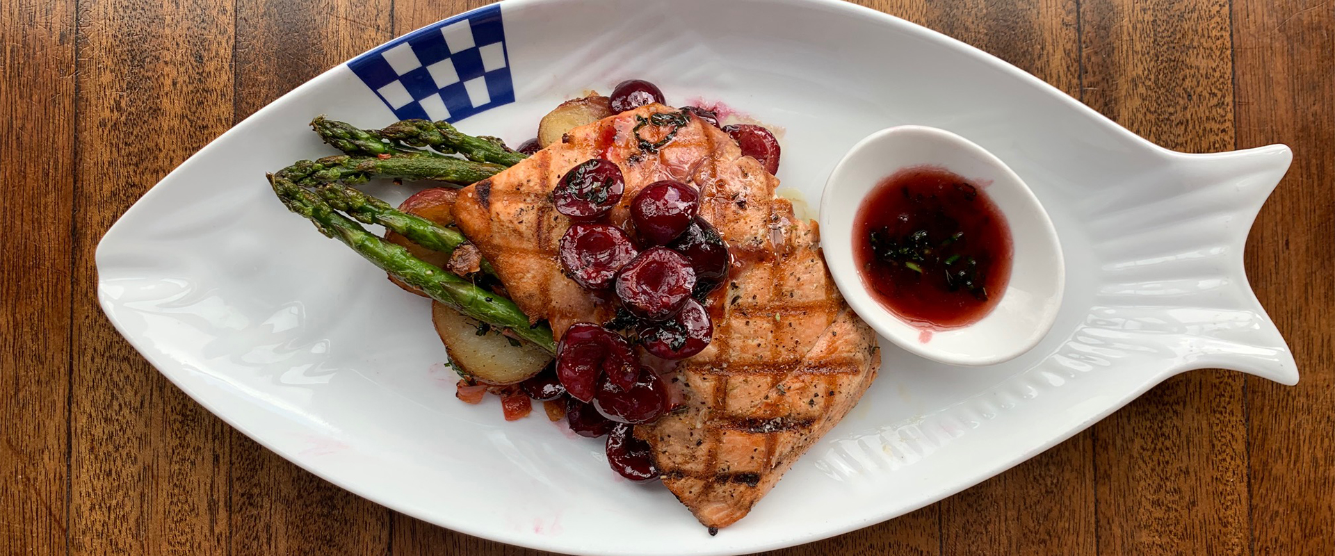 Dukes Salmon with Cherries and Asparagus